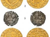 Obr. 1 - 5. Štyri exempláre dukátov a quarting Žigmunda Luxemburského (1 - dukát typu H 572 s mincovou značkou Francisca Bernardiho z rokov 1387-1402, 2 - dukát s mincovou značkou I-V = Jakub Venturi, 3 - quarting razený po roku 1430 aj v Bratislave, 4 - dukát s dvoma ľaliami z rokov 1387-1389 razený v Košiciach, 5 - dukát datovaný približne do rokov 1383-1391 razený v Budíne)