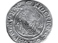 Averz: Madona s dieťaťom v pravej ruke, po stranách mincová značka K‑B; opis: RVDOL•II•D•G•RO•IM•S•AV•GE•HV•B•R•