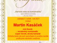"""""""Karlova cena za numizmatiku"""" za rok 2021"""