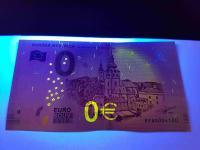 0 euro souvenir Banská Bystrica pod UV svetlom