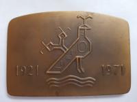 Marián Polonský: Spevácky zbor slovenských učiteľov, 50 rokov, 1971, bronz, 1971, AE, 81x55 mm, reverz