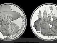 Slovenské strieborné 10€ mince Ján Jessénius Proof + BK + leták