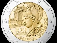 2 Euro Rakúsko 2018 - 100. výročie založenia Rakúskej republiky - UNC