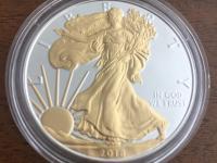 Silver eagle, 1 oz, pozlátený