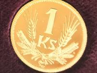 Zlaté repliky mincí korunovej meny 1892 - 1960, limitovaná razba 40 ks, číslo 7