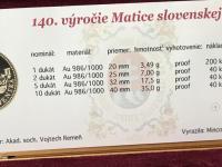 RRR 10, 5, 2, 1 Dukat - Matica slovenska 140. výr