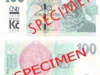 Výměna 100 korun 2018 s přítlačí ČNB 2019