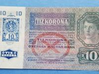 Bankovka 10 korona 1915 s 10 halierovým kolkom RČ