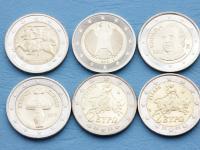 Obehové euromince 2euro v UNC