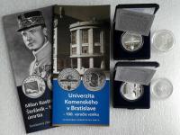 Ag mince 10 Euro M.R.Štefánik, Univerzita Komenského 2019 PROOF + BK