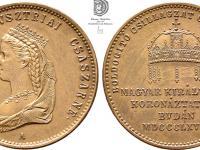 AE žetón 1867 A Elisabetha/Sissi korunovácia za kráľovnú Uhorska v Budapešti