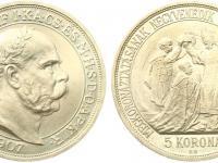 kupim zbierkovu korunovacnu 5 koronu  1907