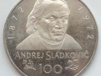 Medaila od Z. Kolářského 100 Sládkovič 1972