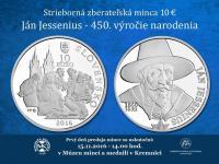 10€ Ján Jessenius – 450. výročie narodenia - prvý deň predaja